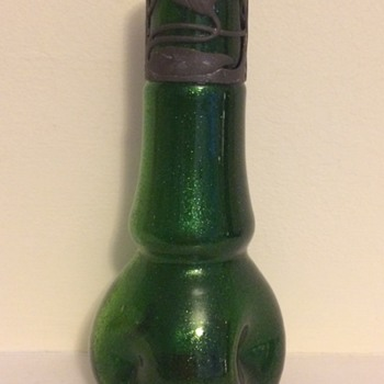 Small aventurine dimpled vase with base metal collar - Art Glass