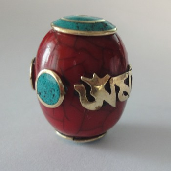 Ornate Chinese Turkoois (Stone/Coral) bead - Fine Jewelry