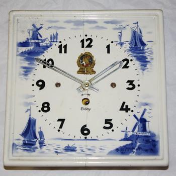Dutch Ceramic Tile 8-Day Clock - Clocks
