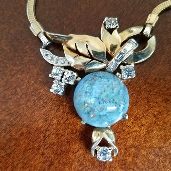 Vintage Lovely Blue Art Glass Necklace - Mazer Bros. - Costume Jewelry