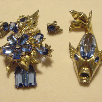 This is my huge Eisenberg Original Flower and Eisenberg Original Fish - Costume Jewelry