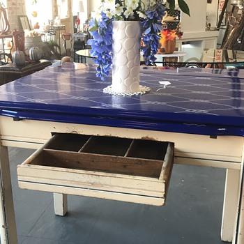 Blue enamel table  - Furniture