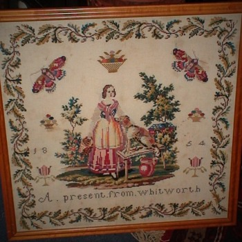 """1854 Needlework Purchased in Bath England """"A Present From Whitworth"""" - Victorian Era"""