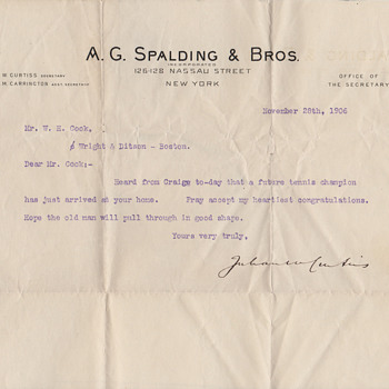 A.G.Spaulding and Wright & Diston letters 1906 about a new baby - Baseball