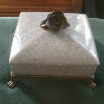 Braa flower handle crackled ceramic covered Dish? with claw feet