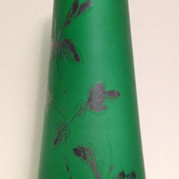 Goldberg oak leaf and acorn vase - Art Glass