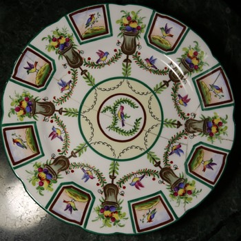 Interesting old plate with lots of pretty birds - Saxe? - Pottery