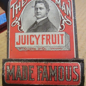 Juicy Fruit advertising tin match strike and holder 1920s - Advertising