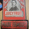 Juicy Fruit advertising tin match strike and holder 1920s