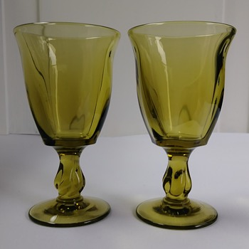 Green Wine Glasses - 1970's??? - Glassware