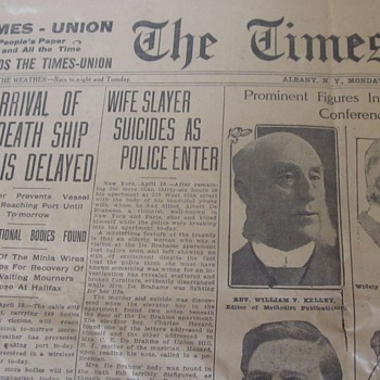 "Bodies Taken from Ocean ""Death Ship""  Titanic Site 1912 - Paper"