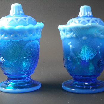 Westmoreland Glass - Covered Creamer & Sugar - Strutting Peacock - Opalescent Blue - Glassware