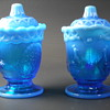 Westmoreland Glass - Covered Creamer & Sugar - Strutting Peacock - Opalescent Blue