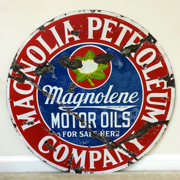 Magnolia/Magnolene Motor Oil Sign - Petroliana