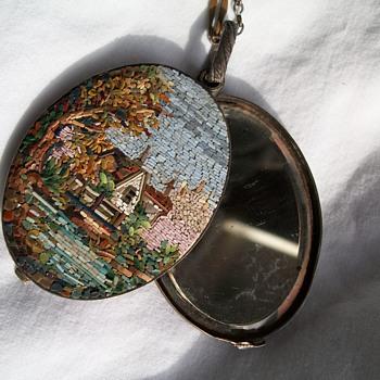 Italian Tourist Art Nouveau micro mosaic reversible brooch - Fine Jewelry