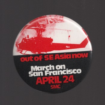 Out of SE Asia NOW Vietnam March pinback button