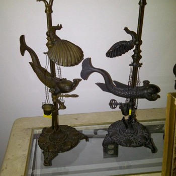 Bronze whale oil lamp - Lamps