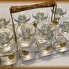 Barware Glasses with Metal Caddy -- Retro !!