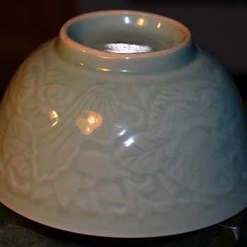Celadon Bowl Carved with Koi and Pondweeds - Asian