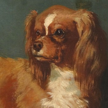 Oil Painting On Canvas Of  A King Charles Spaniel, 19th Century - Animals
