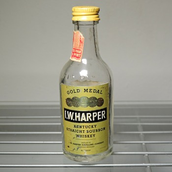 1970 I. W. Harper Bourbon Whiskey Mini Sample Bottle 1/10 Pint Penn Central Railroad PC Vintage Capped  - Bottles