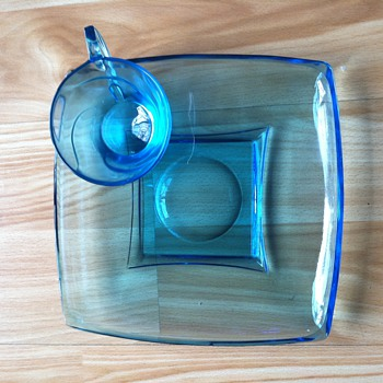 Capri Turquoise Snack Plate and matching Cup - Depression Glass - - Mid Century Glass - Glassware