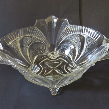 Brockwitz Glass Serpent Handled Fruit Bowl - Art Glass