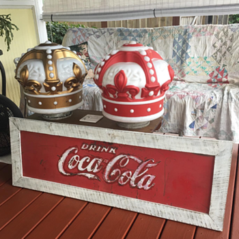 Two Standard Oil Gas Crowns globes and a repurposed Coca-Cola sign - Advertising