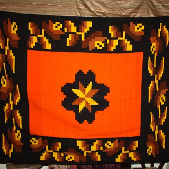 Very heavy Mexican Blanket - Geometric and Orange - Rugs and Textiles