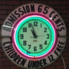Drive-In Movie Theater  Neon Clock~Admission .65 cents Children under 12 free~Double Marquee