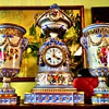 Antique Porcelain Clock Set