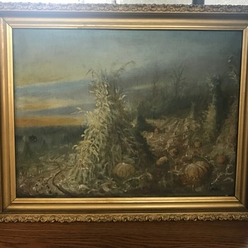 Haystacks  Pumpkins Landscape by C. Miller? - Fine Art