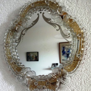 Beautiful Vintage Italian Venetian Murano Glass Vanity Dresser Wall Mirror - Art Glass