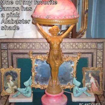 Beautiful antique bathing beauty alabaster lamp with book ends as accent - Art Nouveau