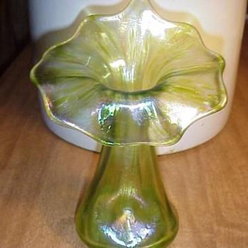 """Nouveau Loetz Diana Ciselé Vase Jack In Pulpit Oil Spot Vase 6.75"""" - Art Nouveau"""