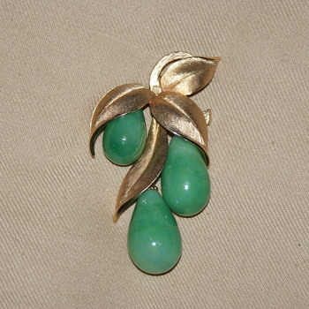 Vintage Costume Brooch with Leaves and Glass Dangles  - Costume Jewelry