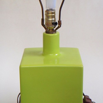 Vintage 1970's? Lime Green Cube Lamp~Wood Base