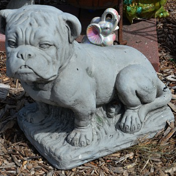 Old and Large Cement / Cast Stone Bulldog - how old? - Animals