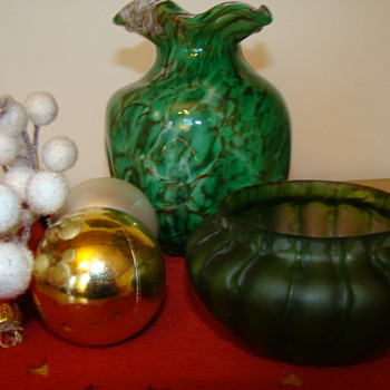 Merry Christmas with two Christmas vases - Art Glass