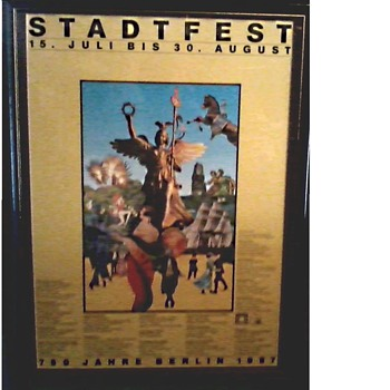 "Interesting German Festival Poster / Matted and Framed  19"" x 25""/ Circa 1987"
