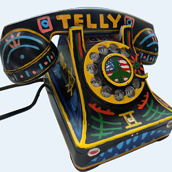 """#2 ~ 1960s Authentic Hippie Folk Art Telephone from """"the Village"""" (NY)"""