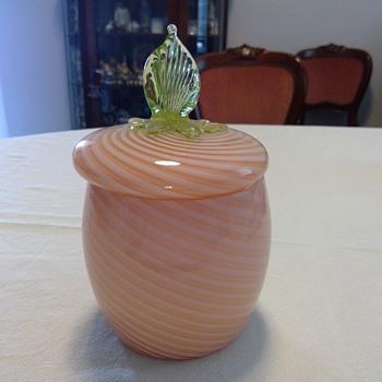 Bohemian Swirled Biscuit Barrel? - Art Glass