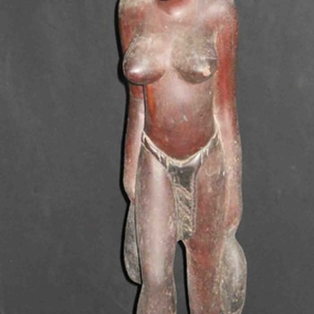 Vintage Very Old 2 Feet Foot Tall Single Wood Carved African Tribal Women Figure, I want to know more about it  - Fine Art