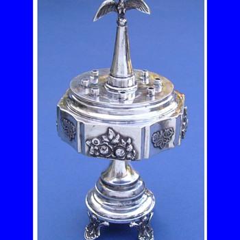 Antique FOLK ART Sterling Silver OIL MENORAH  - Silver