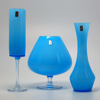 Ryds Glasbruk, Sweden - Three light blue vases. - Art Glass