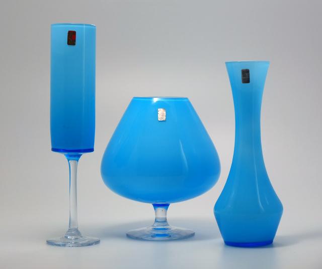 Ryds Glasbruk Sweden Three Light Blue Vases Collectors Weekly