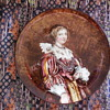 Antique Pottery Plate With Portrait Of Lady/Queen