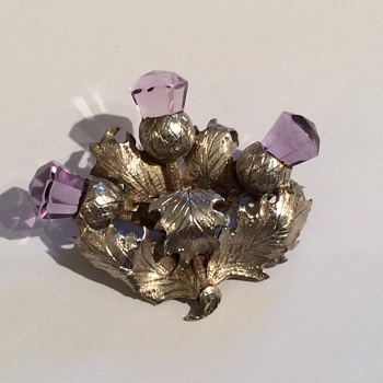 Victorian Unmarked Silver & Amethyst Thistle Brooch - Fine Jewelry