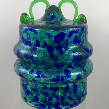 Vladimir Jelinek (b. 1934) Covered Glass Jar for Crystalex, Novy Bor, signed limited edition, ca. 1990 - Art Glass