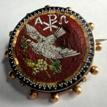 Micro Mosaic Dove Brooch in Silver and Gold - Fine Jewelry